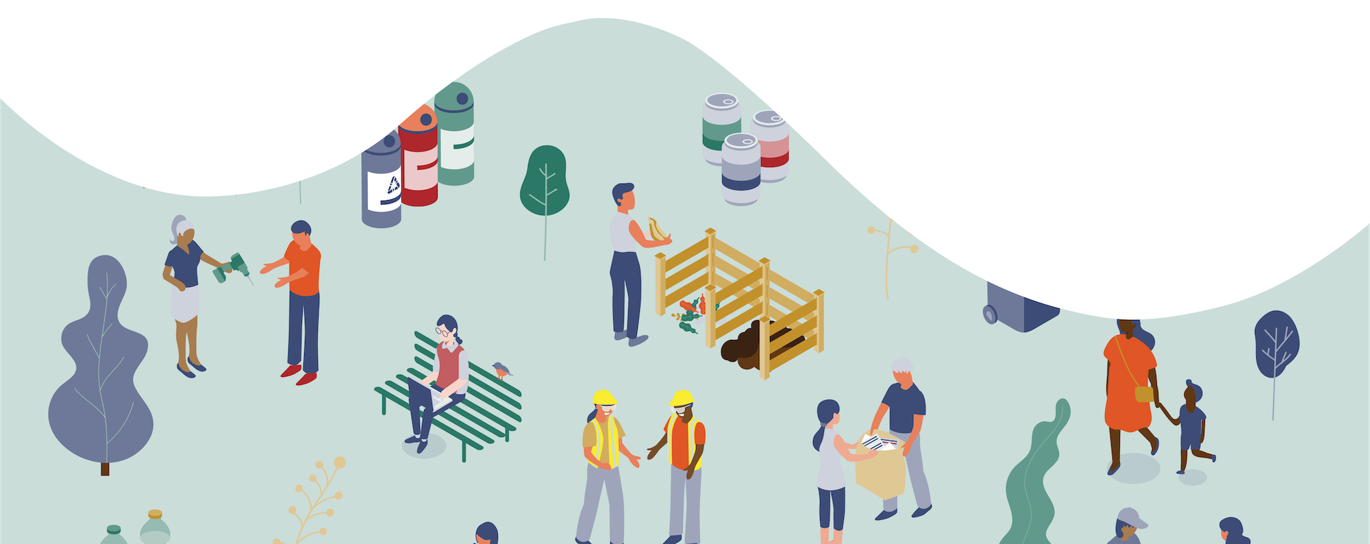 Cartoon graphic of people, trees, and recycling.