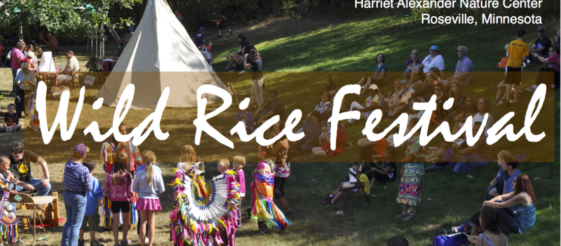 Wild Rice Festival flyer with image of people at festival.