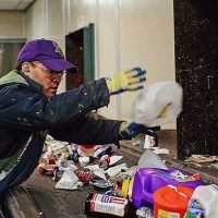 Eureka staff sort waste in facility.