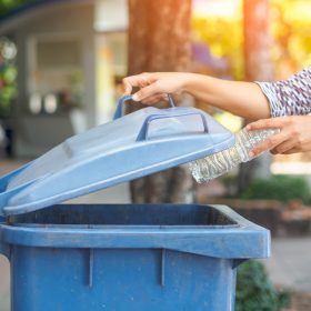 Person placing plastic bottle in recycling bin.